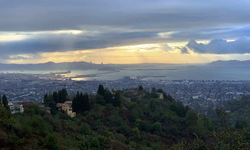"""City By The Bay"" A glorious late afternoon view of the immediate San Francisco Bay Area with the City By The Bay in the distance as shot from Grizzly Peak in the Oakland, California Hills. San Francisco Bay San Francisco Dusk Sundown Sunset Sky Cloud - Sky Scenics - Nature Water Sea Beauty In Nature Nature Mountain Landscape"