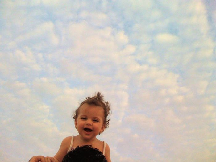 Babygirl Baby Sky Cloud - Sky Smiling Front View Happiness Enjoyment Real People Fun Childhood Headshot Real Life Happybabygirl Happybaby Abudhabi