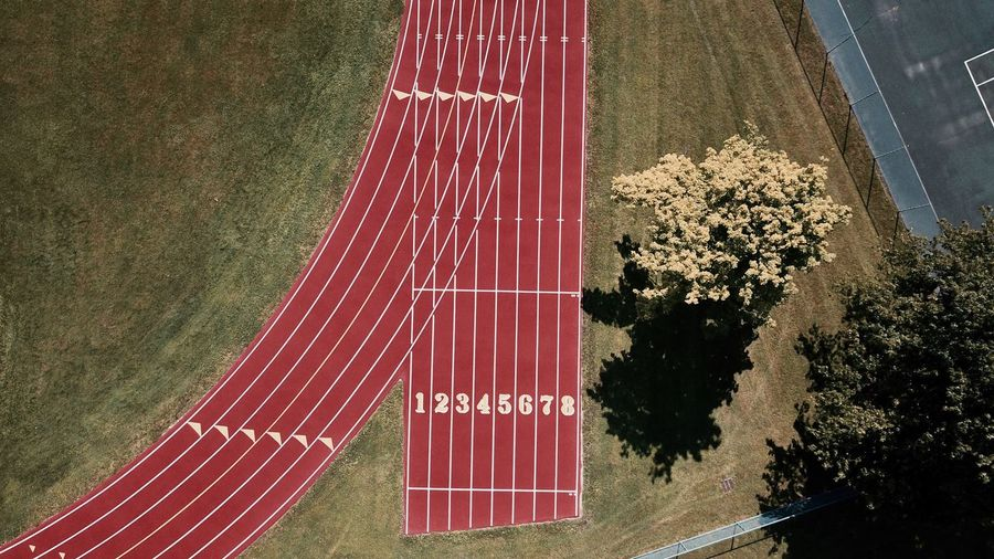 -On Your Mark- Track High Angle View No People Outdoors Red Lines Simplicity Minimalism Birdseyeview Drone  Overhead Clean Dronephotography Mavic Pro The Week On EyeEm