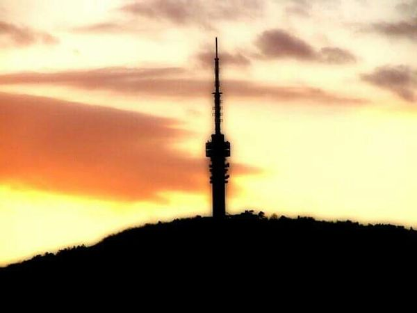 Tvtower Pécs Hungary Siluette Sundown Hometown