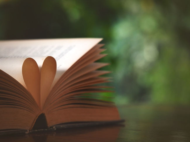 Blurred image, Composition of love with open book heart shape and vintage color tone style process Book Bookpage Close-up Day Education Focus On Foreground Heart Shape Knowledge Literature Love Nature No People Open Outdoors Page Vintage Wisdom