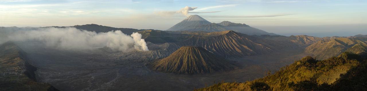Steam Emitting From Mt Bromo And Mt Semeru