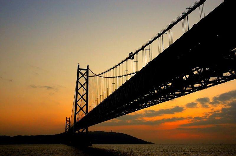 Sunset Bridge Silhouette 明石大橋 Taking Photos Hello World Landscape Open Edit