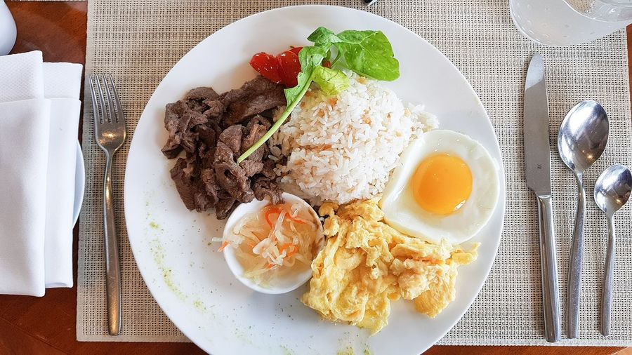 Breakfast Breakfast Egg Yolk Plate Fried Egg Directly Above Table High Angle View Egg Close-up Food And Drink