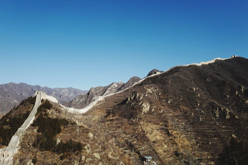 Great Wall Of China On Mountains Against Clear Blue Sky