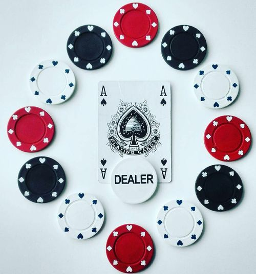 Large Group Of Objects Creativity Red Studio Shot No People Close-up White Background Beautifully Organized Black Cards Poker Chips