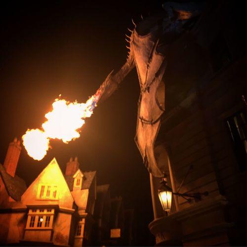 Gringotts Dragon Firebreathing at night Universal Studios Orlando Harry Potter ⚡ Gringotts Dragon Gringottsbank