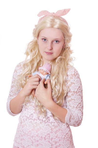 Blond Hair Carnival Cosplay Costume Cute Doll Fasching Girl Hairbow Looking At Camera One Person People Princess Studio Shot White Background Wig Woman Young Woman