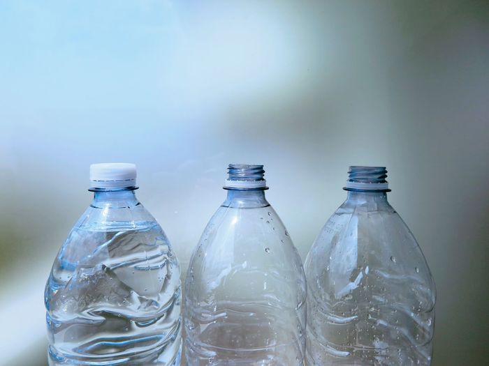 Bottle Water Bottle  Water Indoors  No People Close-up Drink Freshness Day Open Locked Full Empty Thread Blue Light Blue Pastel Pastel Similar Still Life Plastic Plastic Bottle