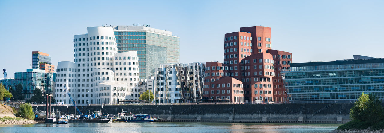 DUESSELDORF, GERMANY - SEPTEMBER 14, 2016: Large High Resolution Panorama of the New Media Harbor Architecture Attraction Düsseldorf Germany M Medienhafen New Media Harbor Panorama People Place To Be  Scenics Ship Tourism Urban Urban Geometry Water