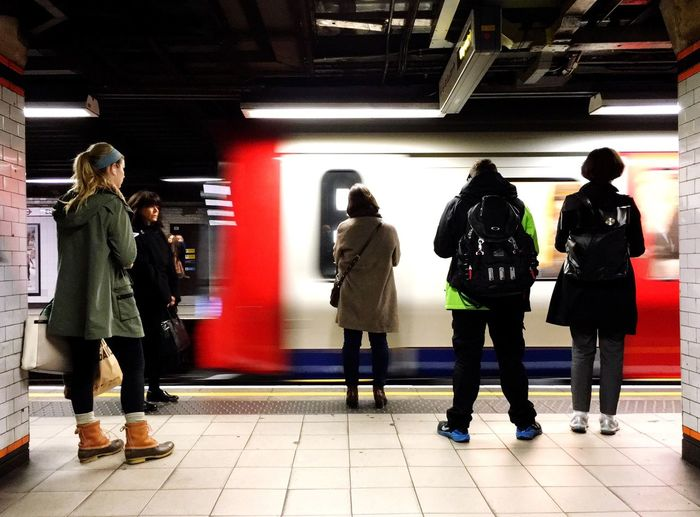 Commuters wait