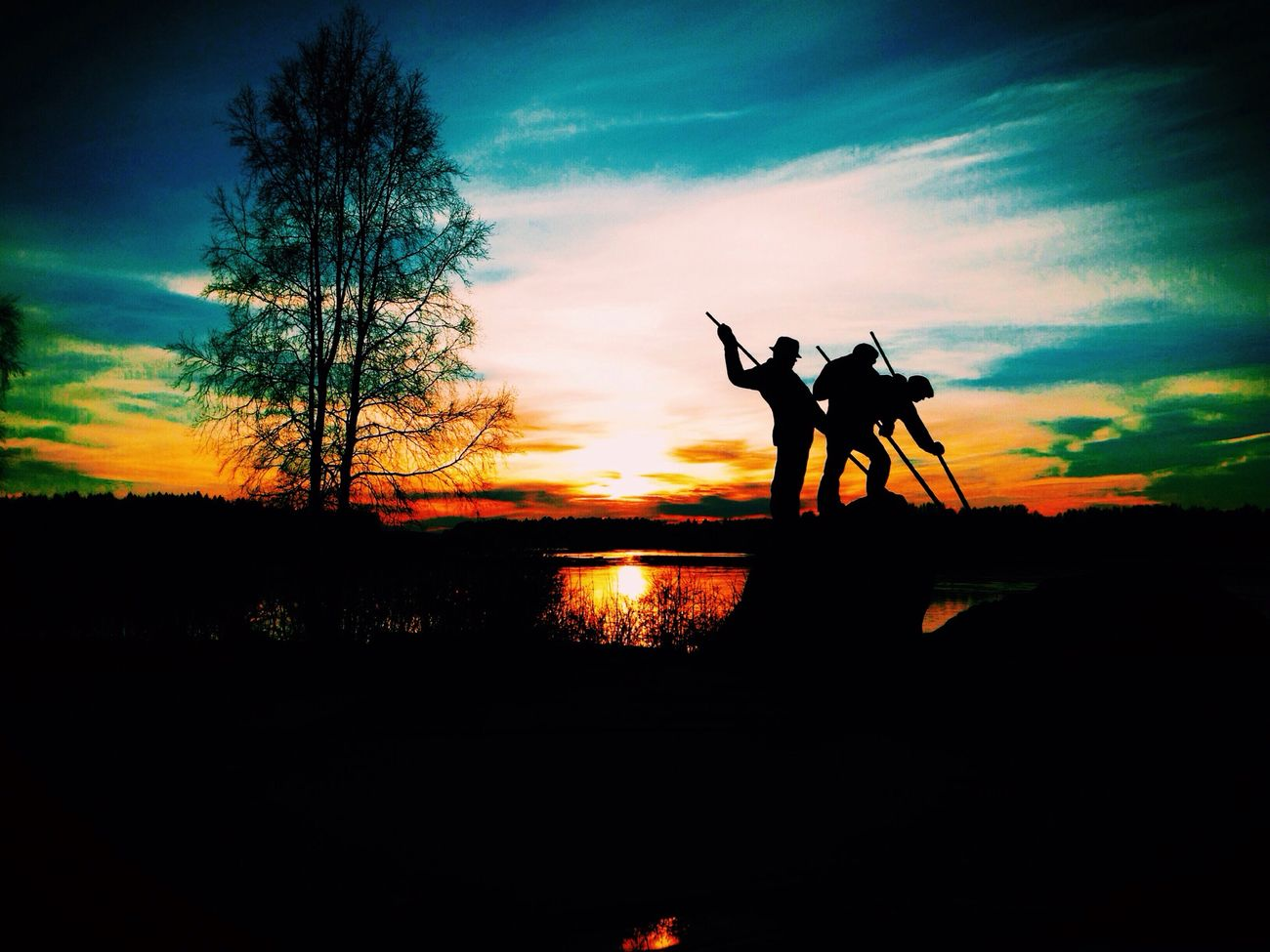sunset, silhouette, sky, scenics, tranquility