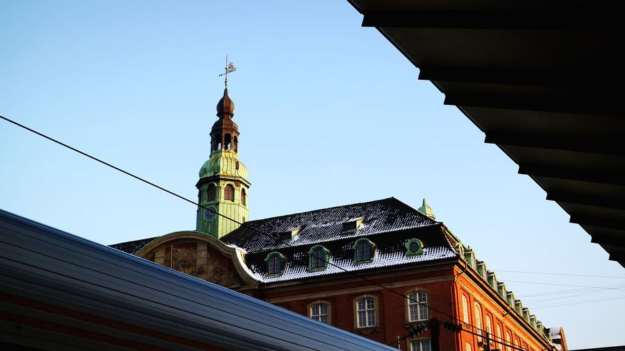 Denmark Copenhagen Architecture Built Structure Building Exterior Low Angle View Clear Sky Tower No People Outdoors City Day Dome Sky Clock Tower Clock Bell Tower