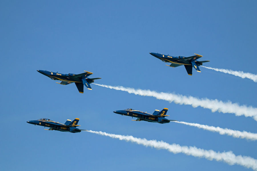 Navy Blue Angels Aerobatics Air Vehicle Airplane Airshow Blue Cooperation Fighter Plane Flying Low Angle View Mid-air Military Airplane Mode Of Transportation Motion Nature No People on the move Outdoors Plane Sky Smoke - Physical Structure Speed Teamwork Transportation Vapor Trail