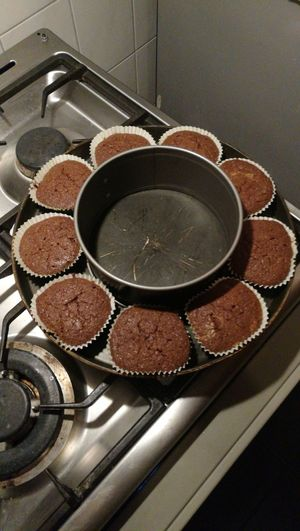 Cupcake circle Baking Homemade Chocolate Cakes Treats High Angle View Close-up Pastry
