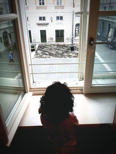 Looking out Taking Photos Window Piazzaverdi Mychild