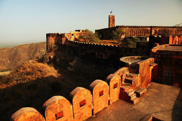 High Angle View Of Jaigarh Fort Against Clear Sky