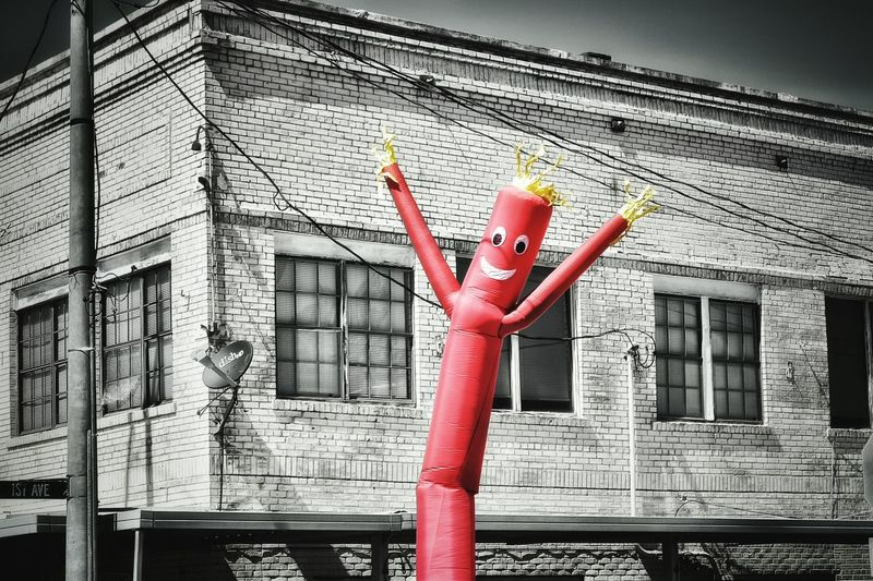 Street Photography Outdoors Brick Wall Brick Power Lines Air Man Blackandwhite Pop Of Color Red Happy
