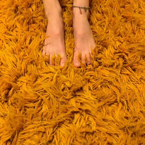 Low section of woman on carpet