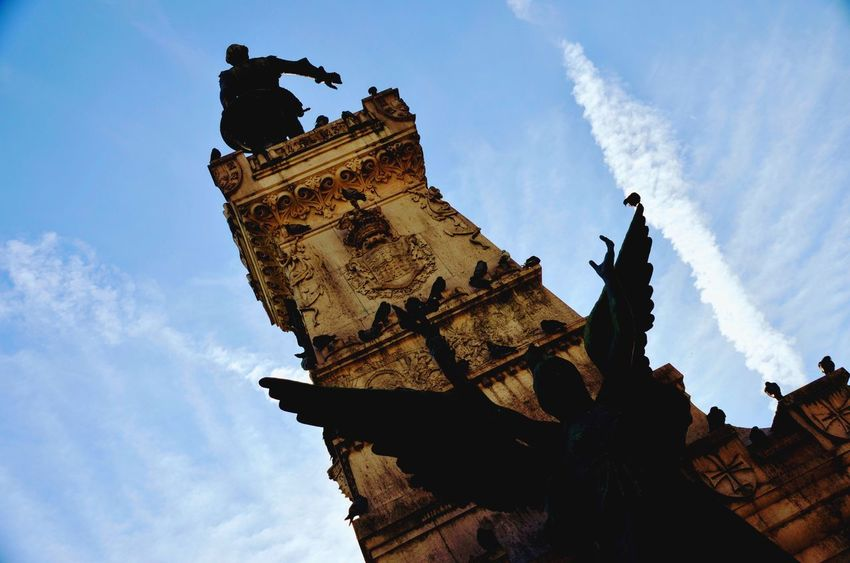 Low Angle View Architecture Sky Built Structure Statue Building Exterior Cloud - Sky Place Of Worship Clock Tower Travel Destinations No People Sculpture Spirituality Gothic Style Religion History Gargoyle Outdoors Day Bell Tower