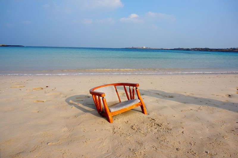 The KIOMI Collection Still Life Nature Composition People Of The Oceans Sea And Sky Fine Art Photography The Journey Is The Destination Korea JEJU ISLAND  Miles Away EyeEmNewHere Landscapes Tranquility Blue Sea Abstract Fine Art Sky And Clouds Beauty In Nature Chair Empty Places Empty Chair Light And Shadow Visual Creativity