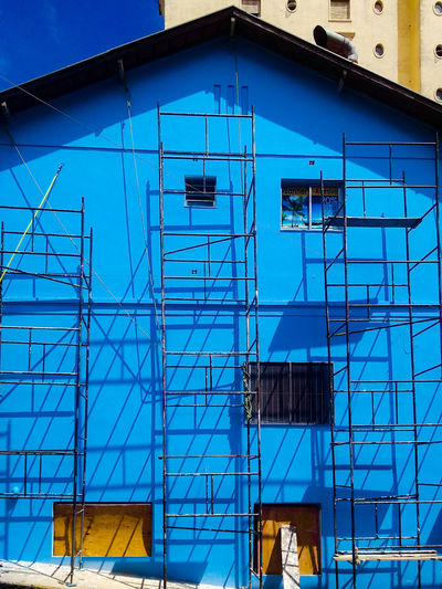 Low Angle View Of Blue Building