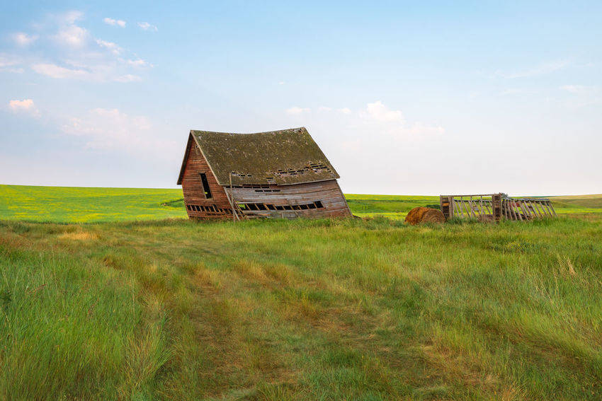 Abandoned Homestead Abandoned Architecture Building Exterior Built Structure Cloud - Sky Damaged Day Deterioration Environment Field Grass Green Color Land Landscape Nature No People Non-urban Scene Old Outdoors Plant Ruined Sky