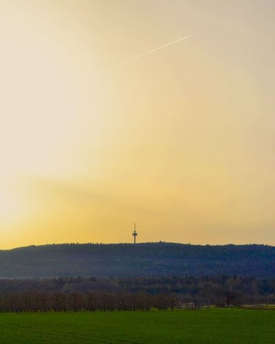 Sunset Rural Germany Tower Germany Wetterau Taunus Astronomy Grass