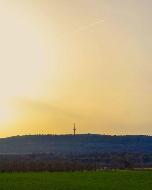 Sunset Rural Germany Tower Germany Wetterau Taunus Astronomy Grass