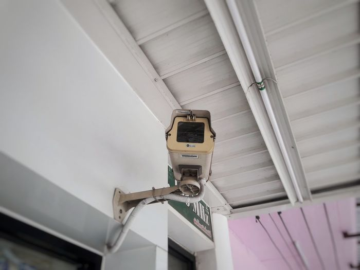 Safty Onwall Cctv Security Camera Technology Industry Ceiling Close-up Architecture Security System Surveillance