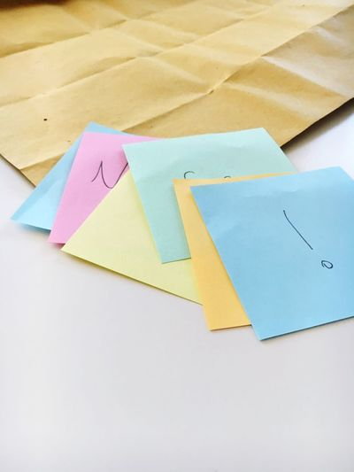 High angle view of colorful adhesive notes and paper on table