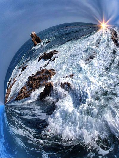 Digital composite image of sea against sky