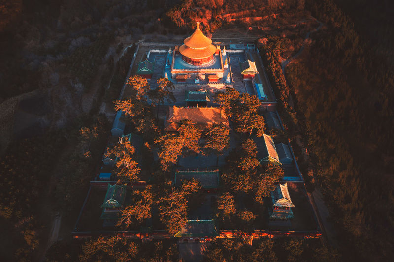 Aerial View Of Temple Of Universal Happiness At Night