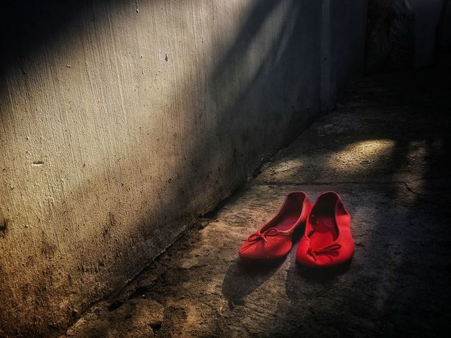 Minimalism Shoe Red No People Shadow High Angle View Sunlight Sandal Still Life Textured  Day Pair