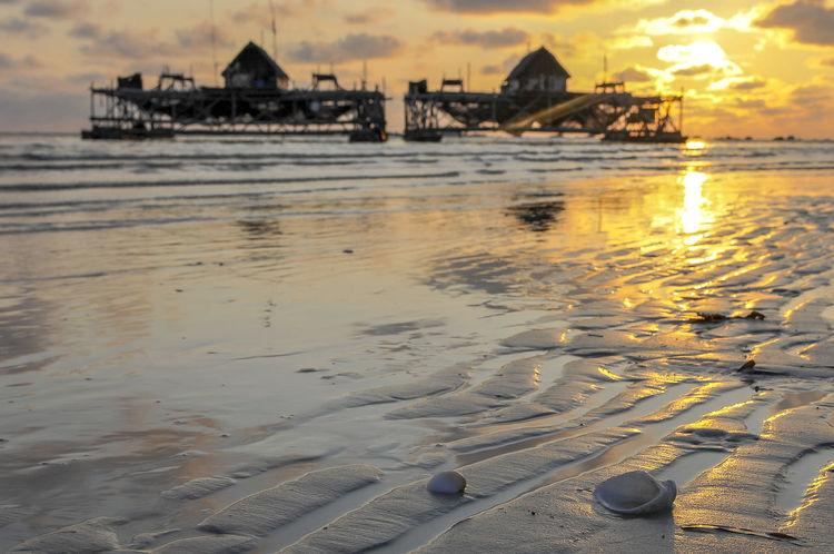 Sunrise in Bintan Island, the exotic island in Kepri, Indonesia. Beach Day Kelong Landscape Landscape #Nature #photography No People Outdoors Sea Sunrise Water