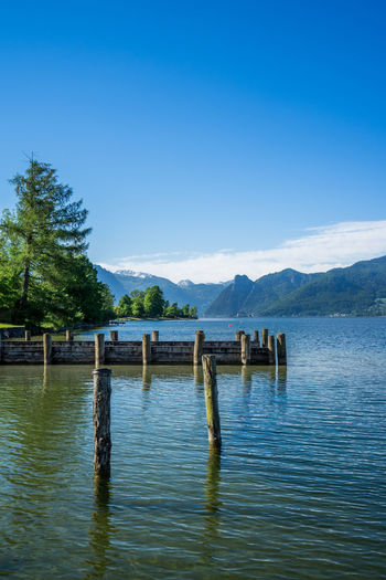 Austria EyeEm Best Shots EyeEm Nature Lover EyeEmBestPics Architecture Beauty In Nature Blue Built Structure Clear Sky Connection Copy Space Day Lake Mountain Nature Outdoors Pier Scenics - Nature Sky Tranquil Scene Tranquility Traunsee Water Wood - Material Wooden Post