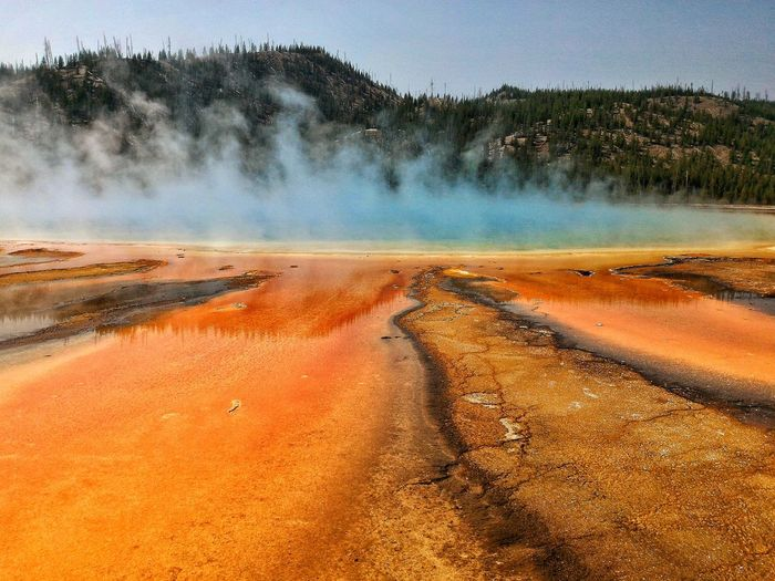 Idyllic Shot Of Smoke In Hot Spring At Yellowstone National Park