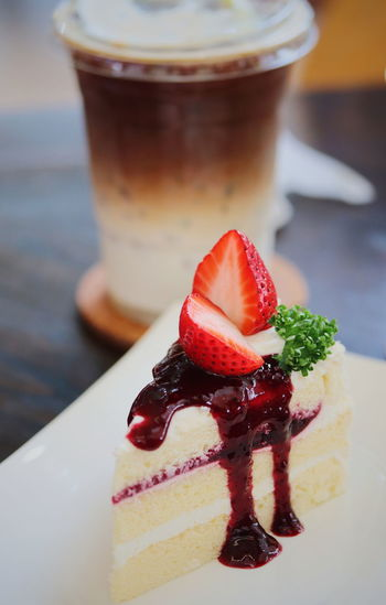 Close-up of strawberry cake on table