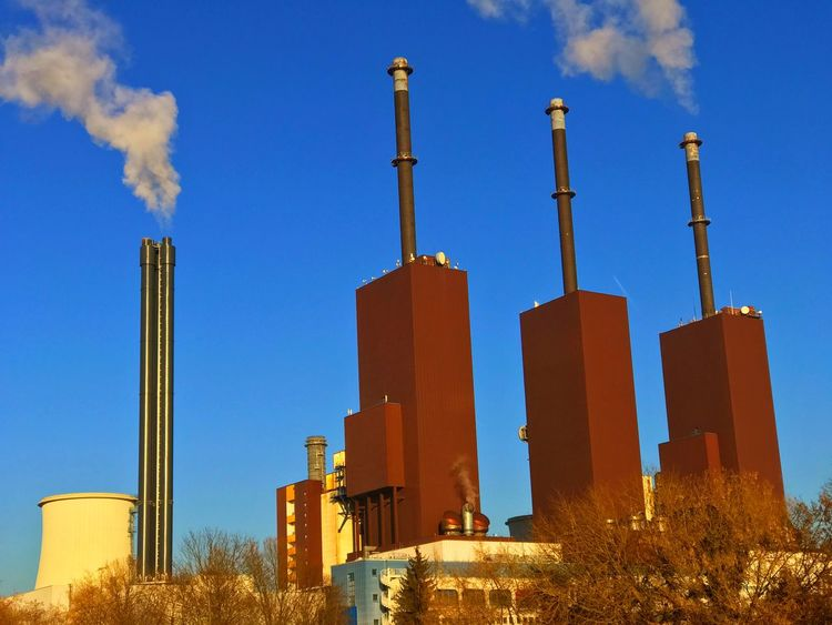 heating plant in Berlin Teltow Blue Cooling Tower Day Factory Generating Plant Generating Station Heating Plant Heating Station Industrial Industry No People Outdoors Power Plant Powerhouse Sky Smoke Smoke Stack Smoke Stack Water Vapor Water Vapour