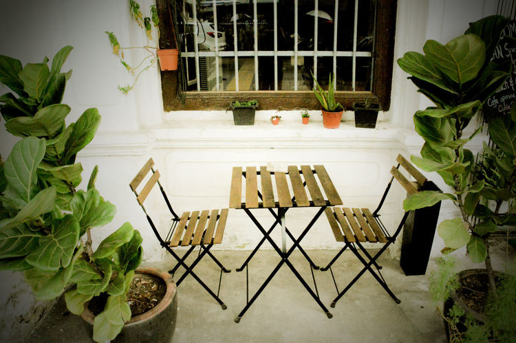 Empty Chairs Quant Vintage Tea Time Afternoon Tea Siesta Time Copy Space Togetherness Pairs Two Moody Table For Two Penang Travel Malaysia Lifestyle Greenhouse