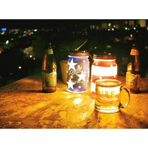 暇すぎて メイソンジャーランプ 作ってみた うまくできた から、それをつまみ にアウトドア 晩酌♪ コナビール 旨し !!自己満 ハンドメイド 星条旗 メイソンジャー メイソンジャーキャンドル メイソンジャーライト Starsandstripes Lamp Lanterns Handmade WTW DIY Masonjarlight Masonjarlamp Ball Konabrewingco bigwavehappyfridayjapan
