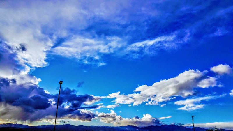 Beauty In Nature Blue Cloud - Sky Cloudscape Copy Space Day Dramatic Sky Environment Flag Idyllic Low Angle View Meteorology Nature No People Outdoors Scenics - Nature Sky Tranquil Scene Tranquility Wind Wispy