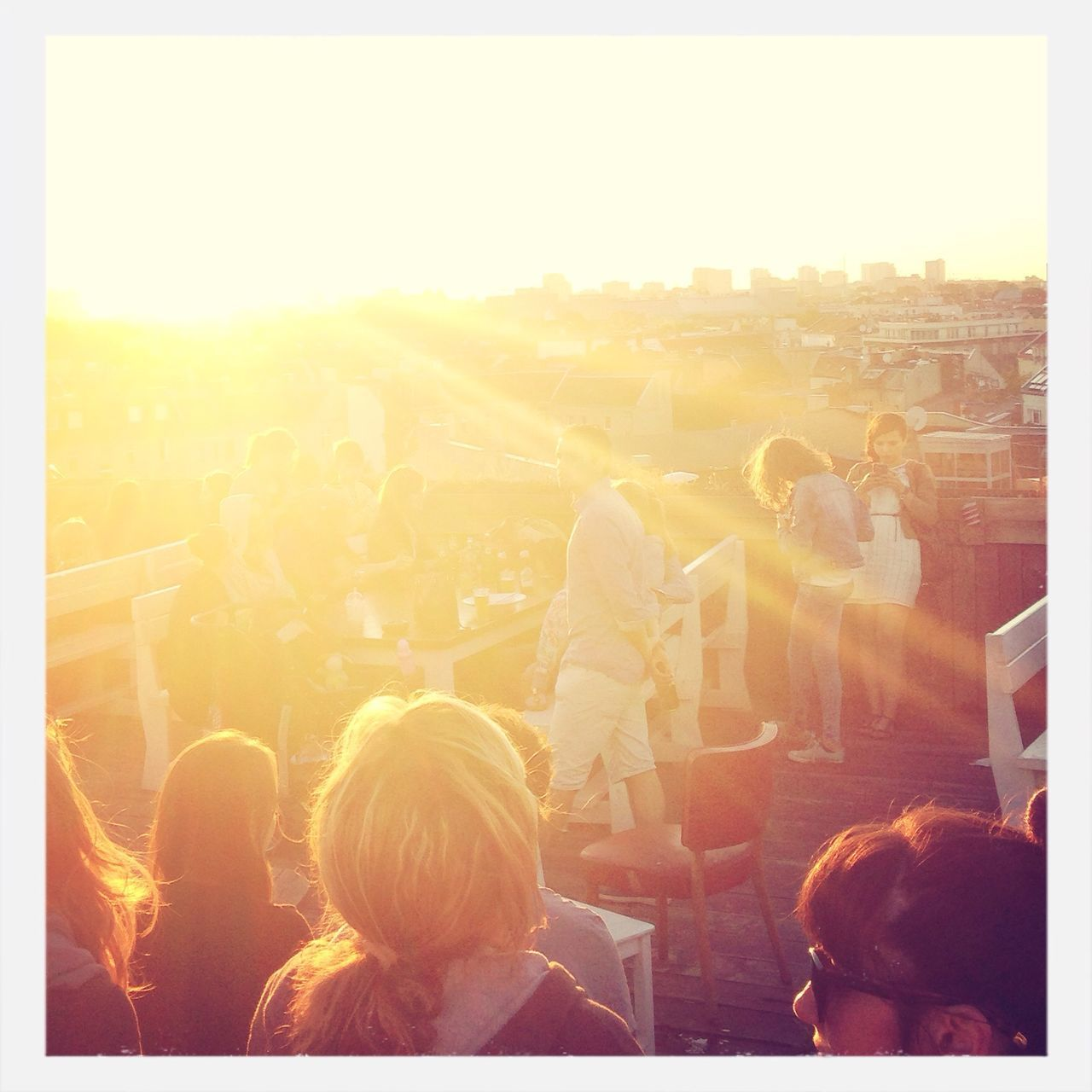 People partying on roof