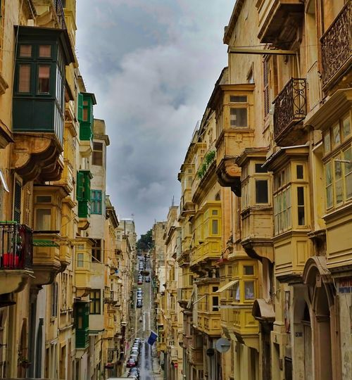 Malta Street View Travel Travel Photography Traveling Travelling Valetta Malta Architecture Balconies Balcony Building Exterior Low Angle View Street Street Photography Travel Destination Travel Destinations Traveller Valetta
