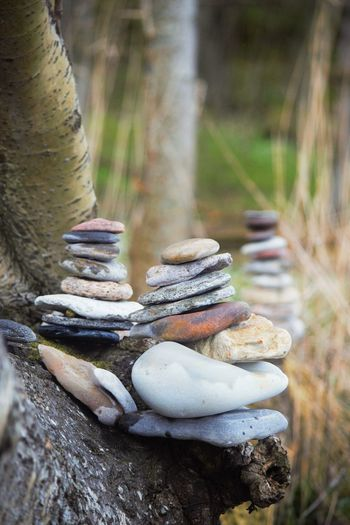 Close-up of stack of rocks