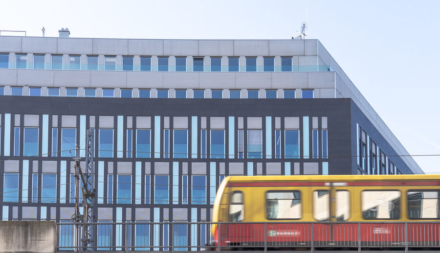 Architecture Building Exterior Built Structure Day Public Transportation Window Building Mode Of Transportation Transportation City Glass - Material Sky Rail Transportation Outdoors No People Nature Train Clear Sky Low Angle View Train - Vehicle S-bahn S-Bahn Berlin Berlin Berliner Ansichten Berlin Photography Berlin Mitte