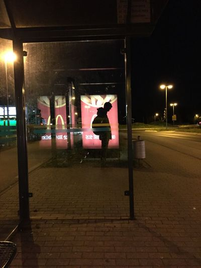 Telling Stories Differently Busstop One Guy Expression Alone Waiting Siluette Golden M Night April