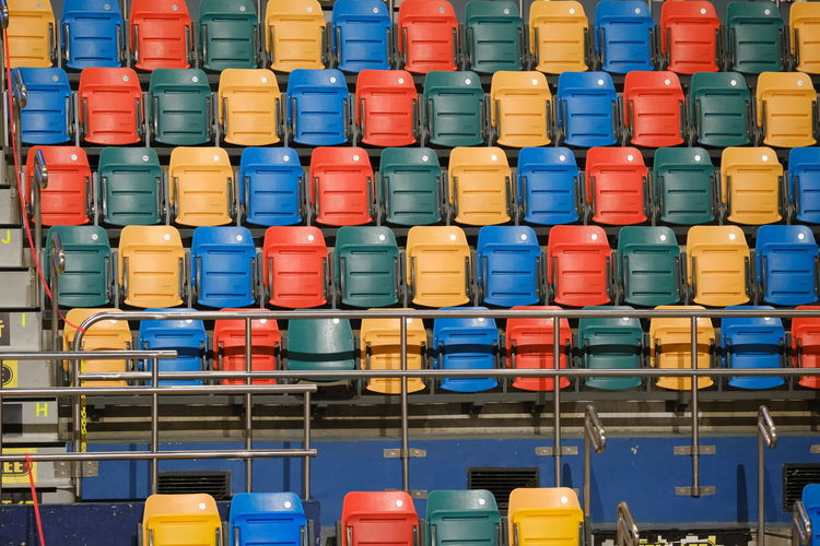 Full frame shot of multi colored chairs