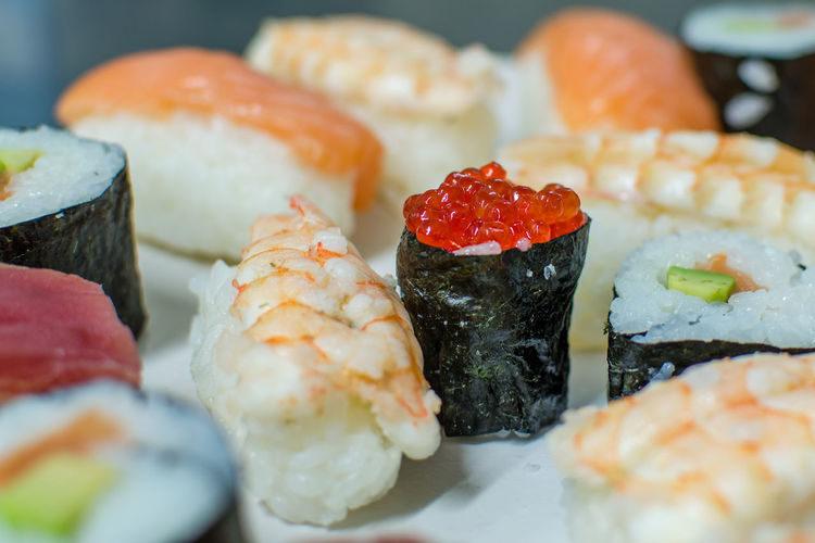 Close-up of sushi in plate