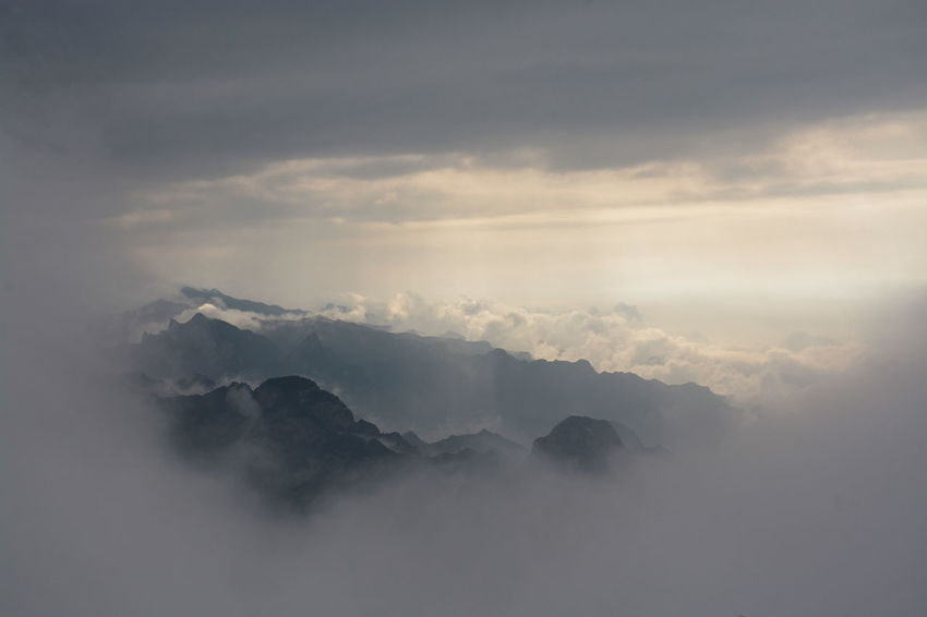 sunset on Hua mountain. Mountain Fog Nature No People Outdoors Cloud - Sky Landscape Beauty In Nature Sky Nature